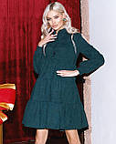 Женское зимнее платье осеннее черное бежевое зеленое бордовое синее коричневое 42 44 46 48 вельветовое теплое, фото 5