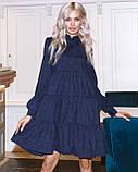 Женское зимнее платье осеннее черное бежевое зеленое бордовое синее коричневое 42 44 46 48 вельветовое теплое, фото 6