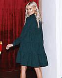 Женское зимнее платье осеннее черное бежевое зеленое бордовое синее коричневое 42 44 46 48 вельветовое теплое, фото 9