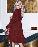 Женское зимнее платье осеннее черное бежевое зеленое бордовое синее коричневое 42 44 46 48 вельветовое теплое, фото 10