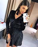 Женское вечернее платье на запах нарядное черное голубое серое 42-46 на новый год с бархата красивое хит, фото 3