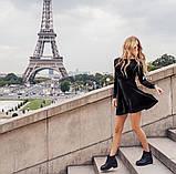 Женское праздничное платье черное короткое нарядное 42-44 44-46 на новый год с бархата красивое хит продаж, фото 2