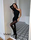 Женское новогоднее платье нарядное сексуальное черное 42-44 44-46 короткое на новый год на один рукав хит, фото 2