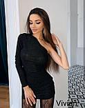 Женское новогоднее платье нарядное сексуальное черное 42-44 44-46 короткое на новый год на один рукав хит, фото 3