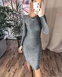 Женское новогоднее платье облегающее черное серебро нарядное 42-44 46-48 на новый год с люрекса хит, фото 3