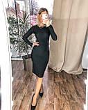 Женское новогоднее платье облегающее черное серебро нарядное 42-44 46-48 на новый год с люрекса хит, фото 4