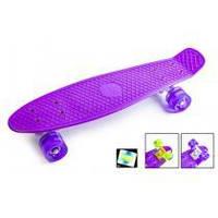 Fish Скейт Original 22 Penny Фіолетовий LED Фіолетові колеса, фото 1