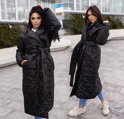 """Женское зимнее пальто до больших размеров 154 """"Стёганка Запах Миди"""" в расцветках"""