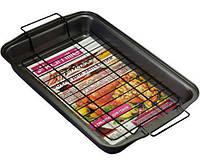 Противень для выпечки Kamille с решеткой для гриля 37.5х26х5 см Черный KM-6001psg, КОД: 168237