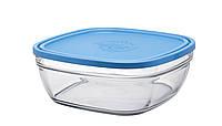 Салатник-контейнер с крышкой Duralex Lys Carré Frashbox с крышкой, квадратный, закаленное стекло,, КОД: