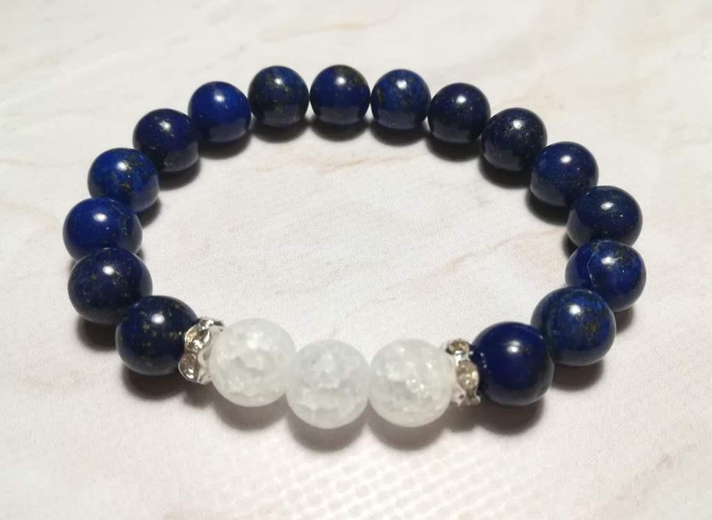Браслет Лазурит, Горный хрусталь, натуральный камень, цвет синий и его оттенки, тм Satori \Sb - 0063