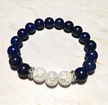 Браслет Лазурит, Горный хрусталь, натуральный камень, цвет синий и его оттенки, тм Satori \Sb - 0063, фото 4