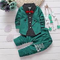 Нарядный костюм для мальчика 1 год Зеленый костюм для мальчика на праздник Стильный костюм на годик Размер 80