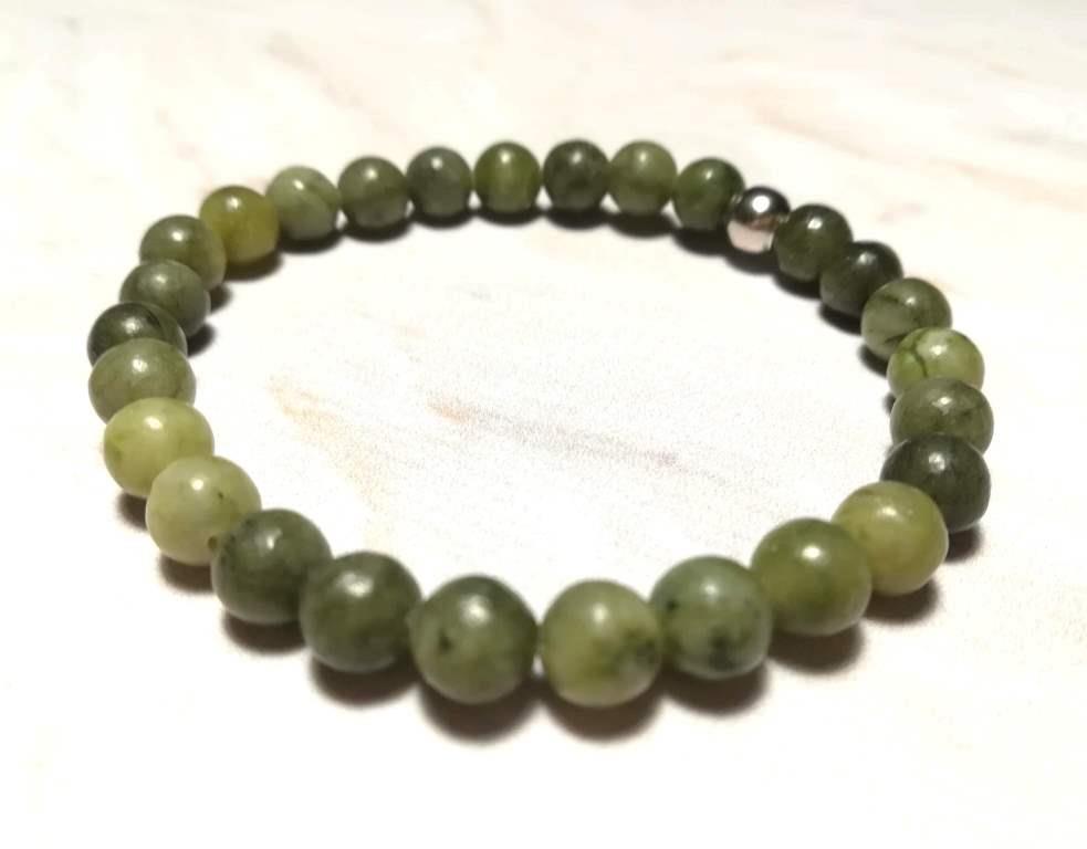 Браслет Жадеит тонкий, натуральный камень, цвет зеленый и его оттенки, тм Satori \ Sb - 0123
