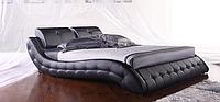Кожаная двуспальная кровать Sonata Mobel B105 Черная, КОД: 1563934