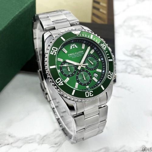 Серебреные мужские наручные часы Megalith 8046M Green кварцевые