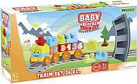 Конструктор Wader Baby Blocks Train Set Мои первые кубики Железная дорога 36 элементов 41460, КОД: 2432519