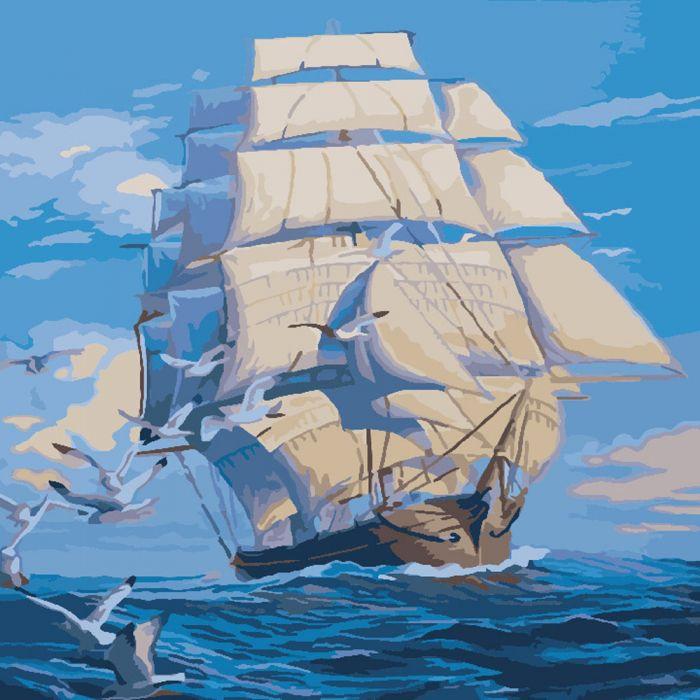 """Картина за номерами Морський пейзаж """"На всіх вітрилах"""" 40 * 40 KHO2708"""