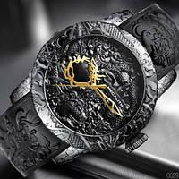 Красивые мужские часы Megalith 8041M All Black Dragon Sculpture необычный подарок мужчине