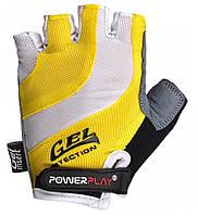 Велоперчатки PowerPlay XS Бело-желтые 5034BXSYellow, КОД: 977454