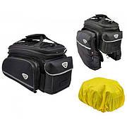 Сумка на багажник Longus INCREASER, боковые карманы, черная