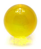Шар хрустальный на подставке желтый11см (28918)