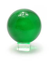 Шар хрустальный на подставке зеленый 11см (28851)