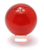 Шар хрустальный на подставке красный 11см (28863)