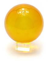 Шар хрустальный на подставке оранжевый 11см (28878)