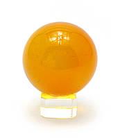 Шар хрустальный на подставке оранжевый 5см (28854)