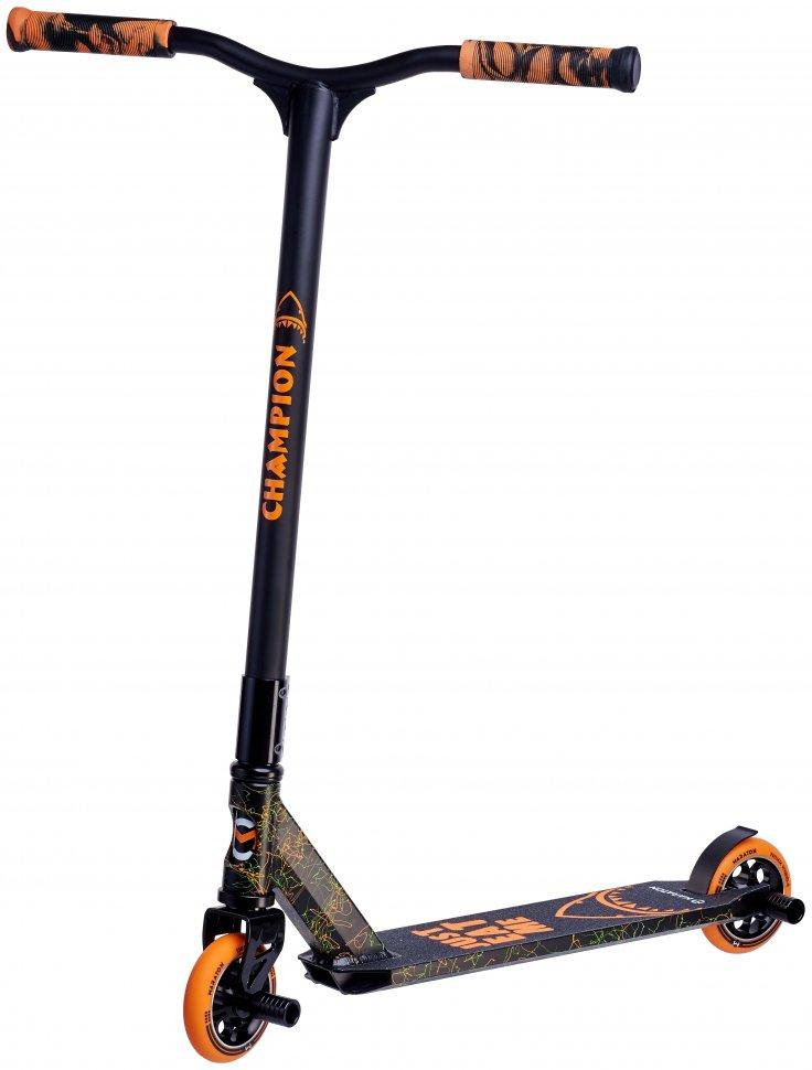 Трюковый самокат Maraton Champion HIC с прочной рамой и пегами (Черно-оранжевый)