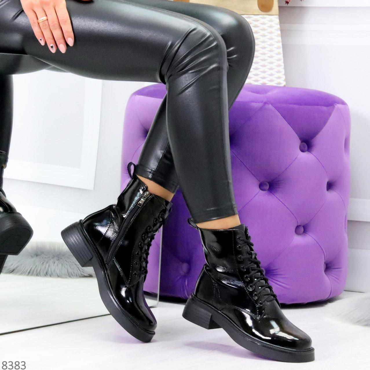 Модные черные глянцевые демисезонные женские ботинки на шнуровке