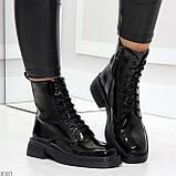 Модные черные глянцевые демисезонные женские ботинки на шнуровке, фото 4