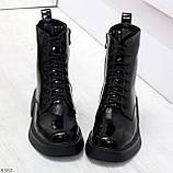 Модные черные глянцевые демисезонные женские ботинки на шнуровке, фото 7