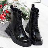 Модные черные глянцевые демисезонные женские ботинки на шнуровке, фото 8