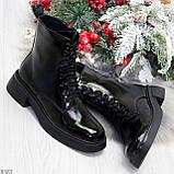 Модные черные глянцевые демисезонные женские ботинки на шнуровке, фото 9