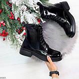 Модные черные глянцевые демисезонные женские ботинки на шнуровке, фото 10