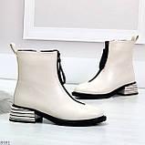 Элегантные светлые молочные бежевые демисезонные женские ботинки, фото 4