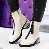 Элегантные светлые молочные бежевые демисезонные женские ботинки, фото 9
