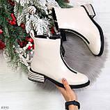 Элегантные светлые молочные бежевые демисезонные женские ботинки, фото 10