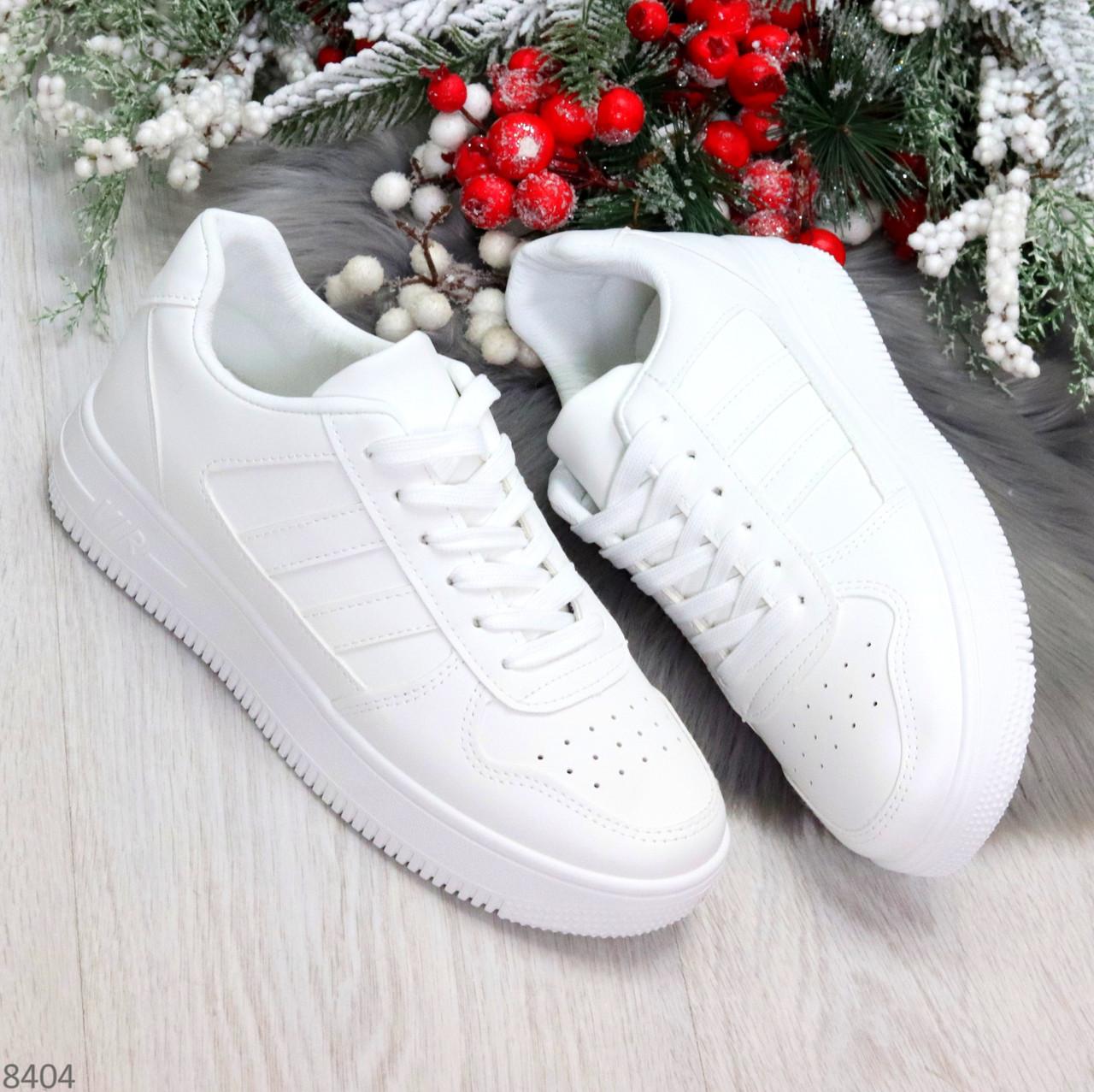 Удобные повседневные белые женские кроссовки кеды на шнуровке