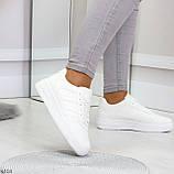 Удобные повседневные белые женские кроссовки кеды на шнуровке, фото 4