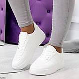 Удобные повседневные белые женские кроссовки кеды на шнуровке, фото 7