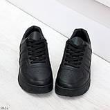 Удобные повседневные черные женские кроссовки кеды на шнуровке, фото 2