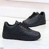 Удобные повседневные черные женские кроссовки кеды на шнуровке, фото 3