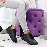 Удобные повседневные черные женские кроссовки кеды на шнуровке, фото 5
