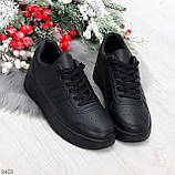 Удобные повседневные черные женские кроссовки кеды на шнуровке, фото 6