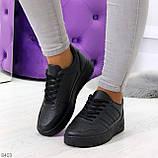 Удобные повседневные черные женские кроссовки кеды на шнуровке, фото 7