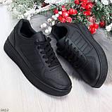 Удобные повседневные черные женские кроссовки кеды на шнуровке, фото 8