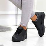Удобные повседневные черные женские кроссовки кеды на шнуровке, фото 9